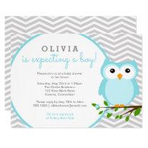 Blue Owl Baby Shower, Grey Chevron Card