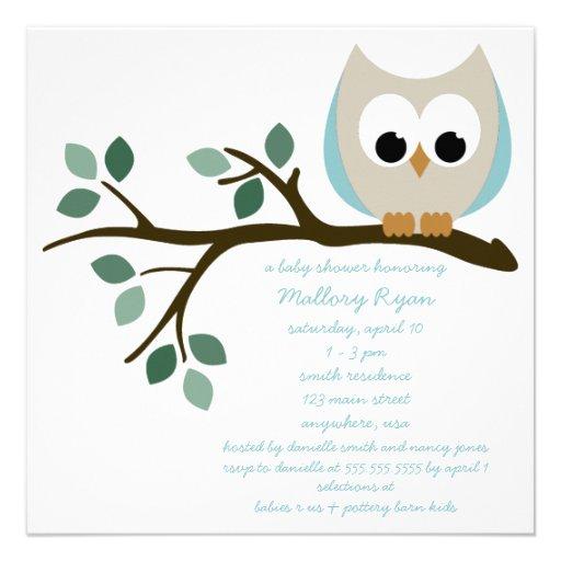 blue owl baby shower invitation square invitation card zazzle