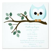 "Blue Owl Baby Shower Invitation 5.25"" Square Invitation Card"