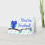Blue Owl Baby Shower Invitations (Folded Card) zazzle_card