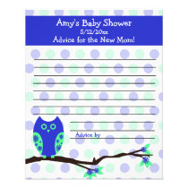 Blue Owl Baby Shower Personalized Advice Cards