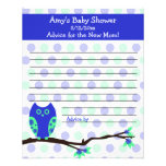 Blue Owl Baby Shower Personalized Advice Cards Custom Flyer
