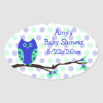 Blue Owl Baby Shower Personalized Favor Stickers zazzle_sticker