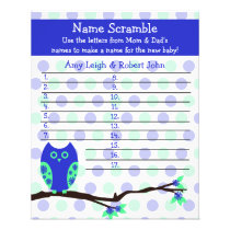 Blue Owl Baby Shower Personalized Game Flyer