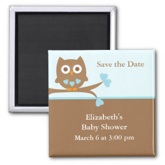 Blue Owl Baby Shower Save the Date Magnet
