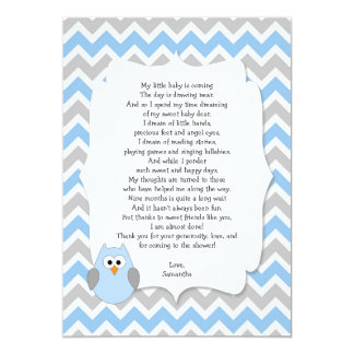 blue owl baby shower thank you notes with poem 5x7 paper invitation