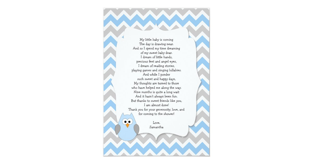 blue owl baby shower thank you notes with poem card zazzle