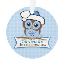 Blue Owl Baby's 1st Christmas Ornament