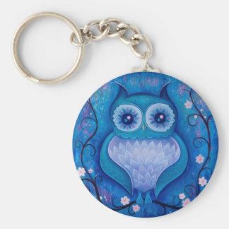 blue owl basic round button keychain
