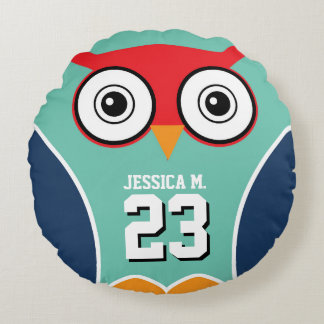 Blue Owl Bird Cartoon Sports Team Round Pillow