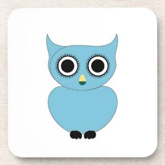 Blue owl- bird of prey beverage coaster