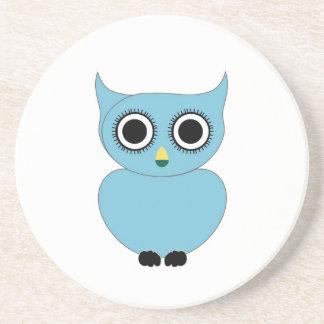 Blue owl- bird of prey drink coaster