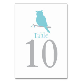 Blue owl bird wedding or occassion table number card