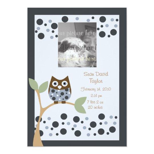 Blue Owl Birth Announcment.. Card