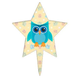 Blue Owl Birthday Cake Topper