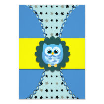 Blue Owl Birthday Invitation for Kids