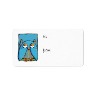 Blue Owl blue green Gift Tag Label label