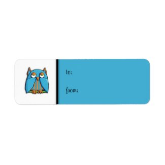 Blue Owl blue small Gift Tag Label label