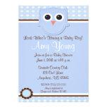 Blue Owl Boy Baby Shower Personalized Invitation