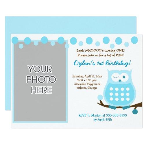 Blue Owl Boy Woodland Photo Birthday Invites