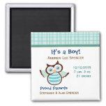 Blue Owl Boy's Birth Announcement Magnet