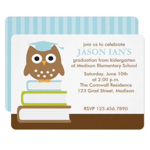Blue Owl Boys Graduation Party Card