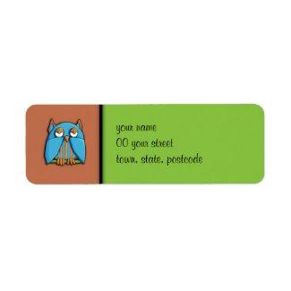 Blue Owl brown green Return Address Label label