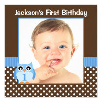 Blue Owl Brown Polka Dot 1st Birthday Boy Photo Card