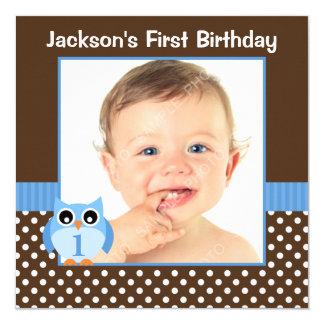 Blue Owl Brown Polka Dot 1st Birthday Boy Photo Card
