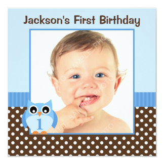 Blue Owl Brown Polka Dots 1st Birthday Boy Photo Card