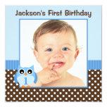 Blue Owl Brown Polka Dots 1st Birthday Boy Photo Personalized Invites