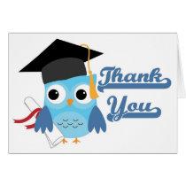 Blue Owl Cap & Diploma Graduation Thank You Card