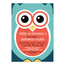 Blue Owl Cartoon Birthday Invitation Card for Boys