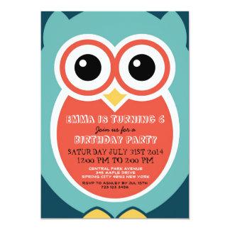 Blue Owl Cartoon Birthday Invitation Card for Boys