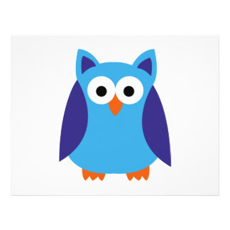 Blue owl cartoon flyer