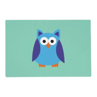 Blue owl cartoon placemat