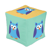 Blue owl cartoon pouf