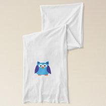 Blue owl cartoon scarf