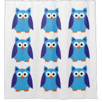 Blue owl cartoon shower curtain