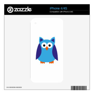 Blue owl cartoon skin for iPhone 4