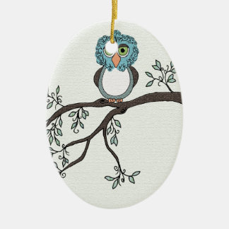 Blue Owl Ceramic Ornament