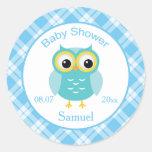 Blue owl, checkered pattern Baby Shower Sticker