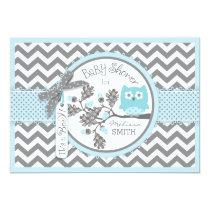 Blue Owl Chevron Print Baby Shower Card