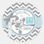 Blue Owl Chevron Print Baby Shower Classic Round Sticker