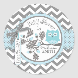 Blue Owl Chevron Print Baby Shower Classic Round Sticker