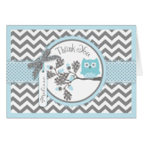 Blue Owl Chevron Print Thank You Card