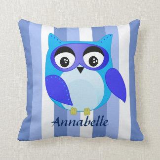 Blue owl children cartoon Illustration Throw Pillow