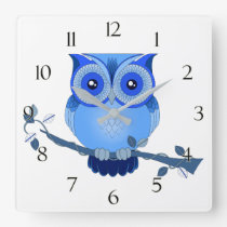Blue Owl Clock with Numbers