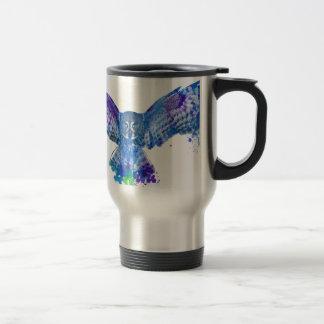 Blue owl color splash travel mug
