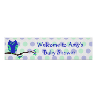 Blue Owl Custom Baby Shower Sign Poster